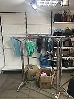 Стойка  для одежды двойная раздвижная хром