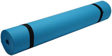 Коврик для фитнеса, йогамат (MS 0380-1) EVA  173-61 см. Синий 4 мм.