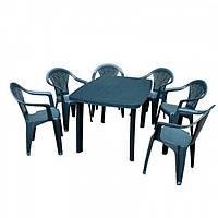 Набор садовой мебели Faro зеленый 1 стол + кресло 6 шт производство Италия цвет белый