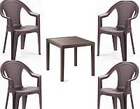 Набор садовой мебели King 1 стол + кресло Ischia 4 шт производство Италия цвет Коричневый и антрацит