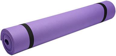 Коврик для фитнеса, йогамат (MS 0380-1) EVA 173-61 см. Фиолетовый 4 мм.