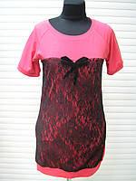 Футболка розовая женская, футболка с кружевом длинная не дорого красивая молодежная, фото 1