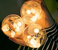 Гирлянда светодиодная бахрома Волшебные шары, теплый белый, 2.5м, 12 шаров.