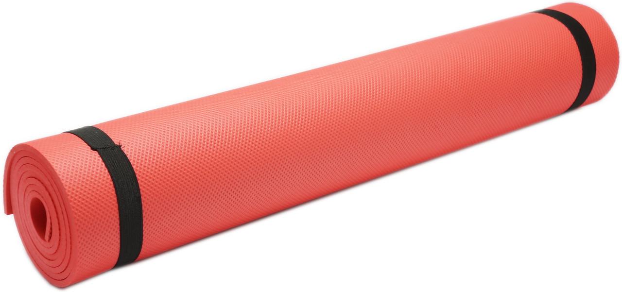 Коврик для фитнеса, йогамат (MS 0380-1) EVA 173-61 см. Красный 4 мм.