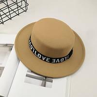 Шляпа женская WildJazz фетровая канотье Love бежевая