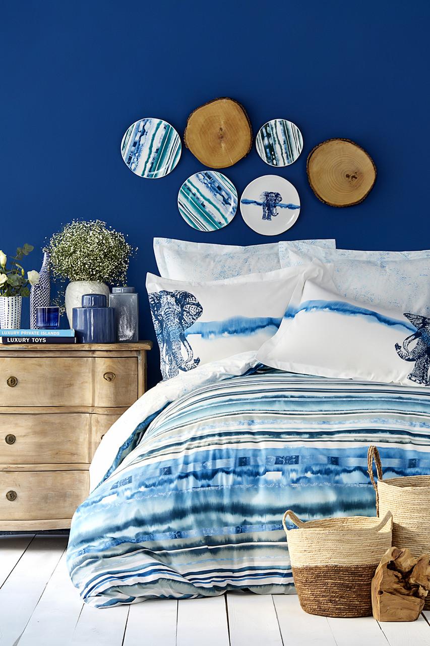 Постельное белье Karaca Home ранфорс Nalini голубой евро