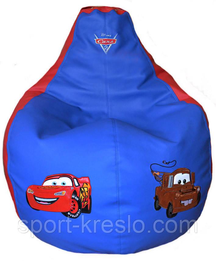 Крісло мішок груша безкаркасні Тачки екокожа розмір S 80*100см синій з червоним