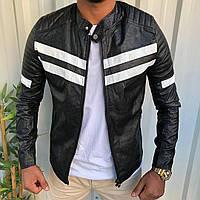 Куртка мужская из кожзама черная стеганая с белыми вставками