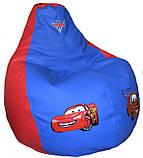 Крісло мішок груша безкаркасні Тачки екокожа розмір S 80*100см синій з червоним, фото 4