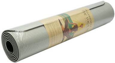 Коврик для фитнеса, йогамат (MS 0613-1) TPE 183-61 см. Серо-черный 6 мм.