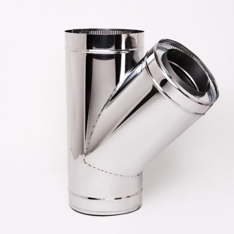 Тройник для дымохода Витан нержавейка в нержавейке 45° d140/200 мм