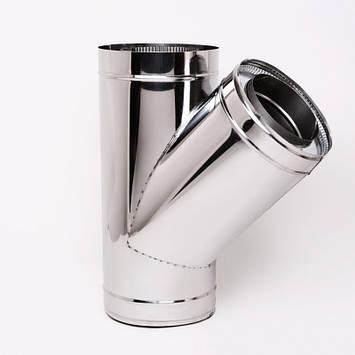 Тройник для дымохода Витан нержавейка в нержавейке 45° d160/220 мм, фото 2