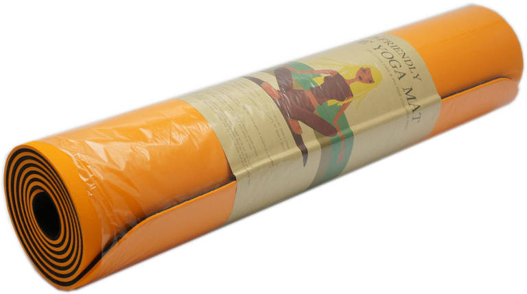 Коврик для фитнеса, йогамат (MS 0613-1) TPE 183-61 см. Оранжево-черный 6 мм., фото 2