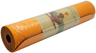 Коврик для фитнеса, йогамат (MS 0613-1) TPE 183-61 см. Оранжево-черный 6 мм.