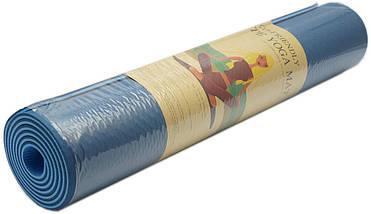 Коврик для фитнеса, йогамат (MS 0613-1) TPE 183-61 см. Сине-серый 6 мм., фото 3