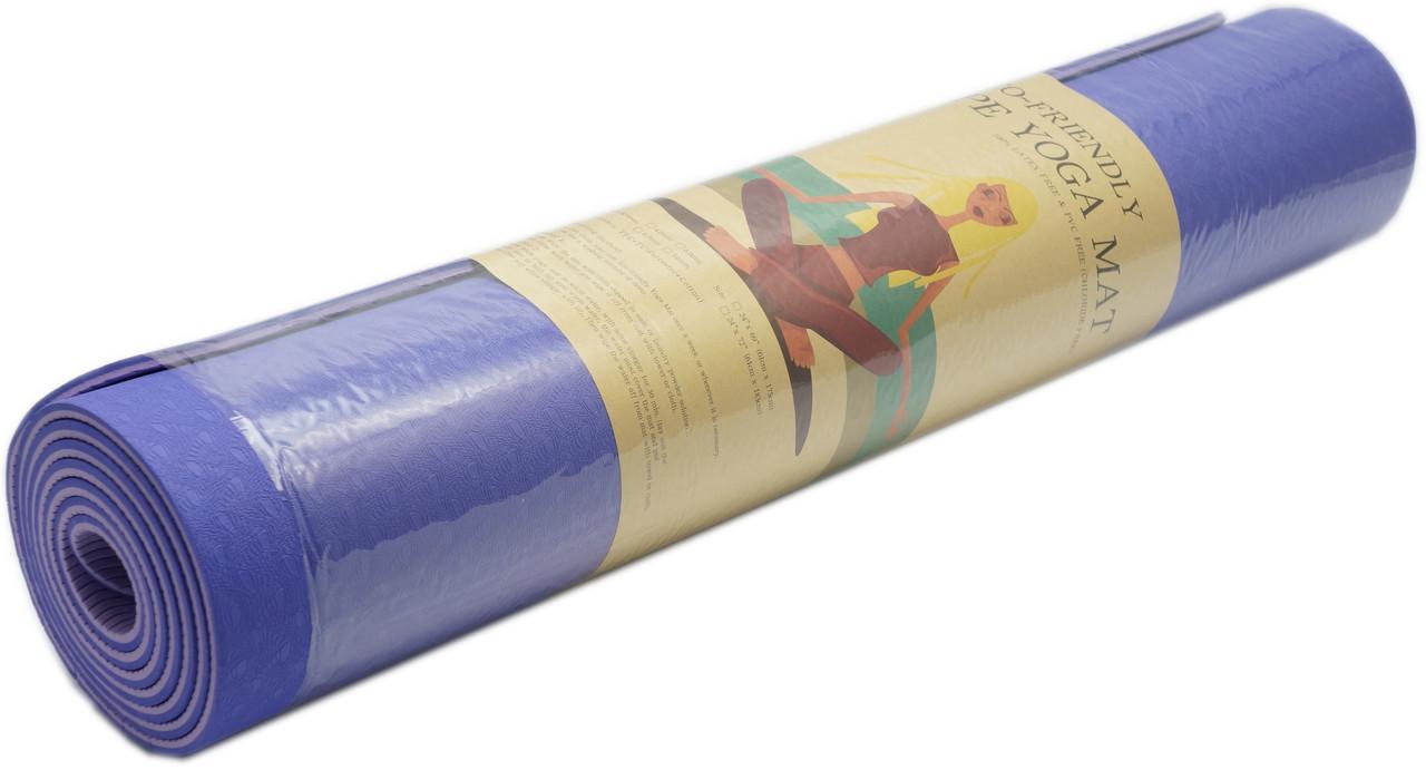 Коврик для фитнеса, йогамат (MS 0613-1) TPE 183-61 см. Сине-серый 6 мм.
