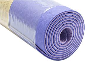 Коврик для фитнеса, йогамат (MS 0613-1) TPE 183-61 см. Сине-серый 6 мм., фото 2