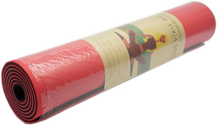 Коврик для фитнеса, йогамат (MS 0613-1) TPE 183-61 см. Красно-черный 6 мм., фото 2