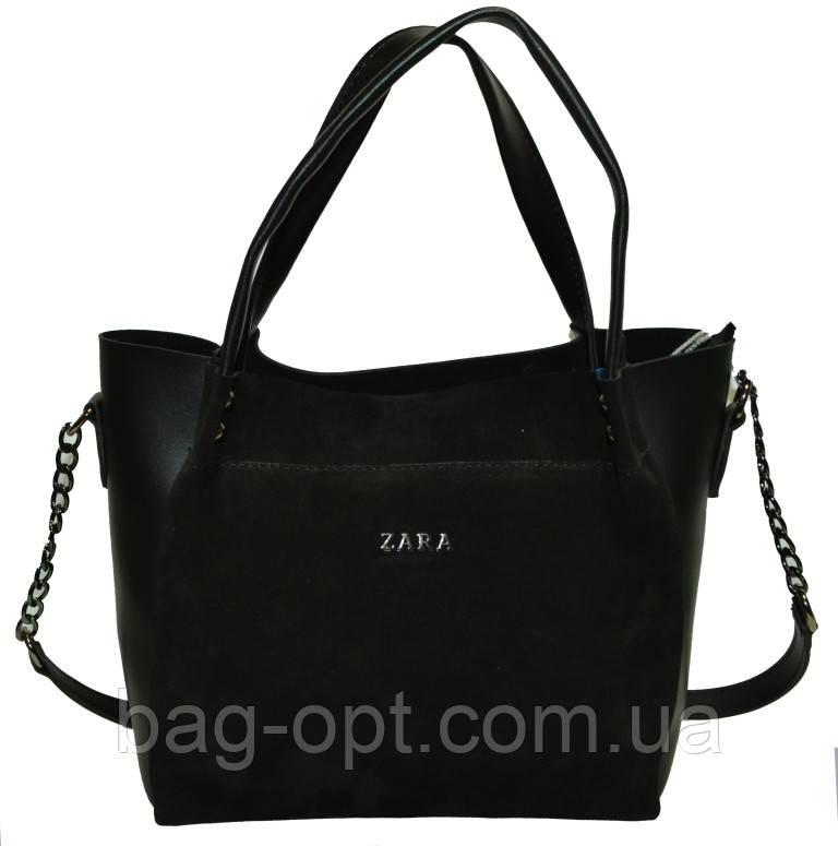 Женская сумка черная из натуральной замши Zara (23*26*11 см)