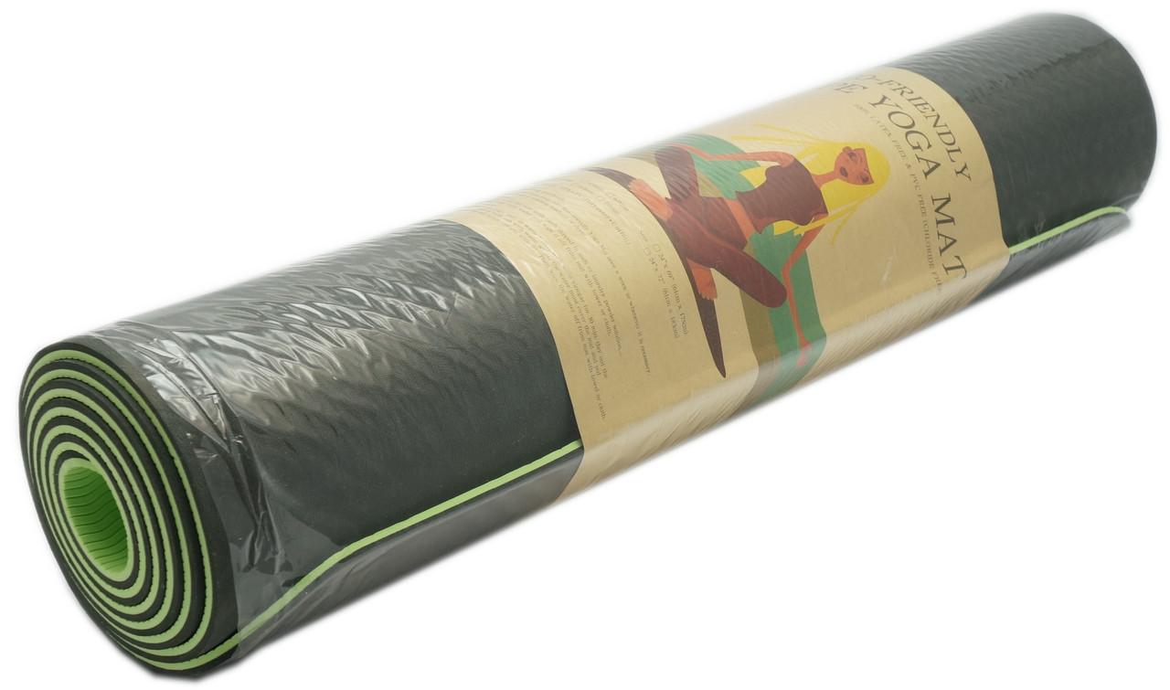 Коврик для фитнеса, йогамат (MS 0613-1) TPE 183-61 см. Черно-зеленый 6 мм.