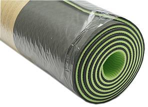 Коврик для фитнеса, йогамат (MS 0613-1) TPE 183-61 см. Черно-зеленый 6 мм., фото 2