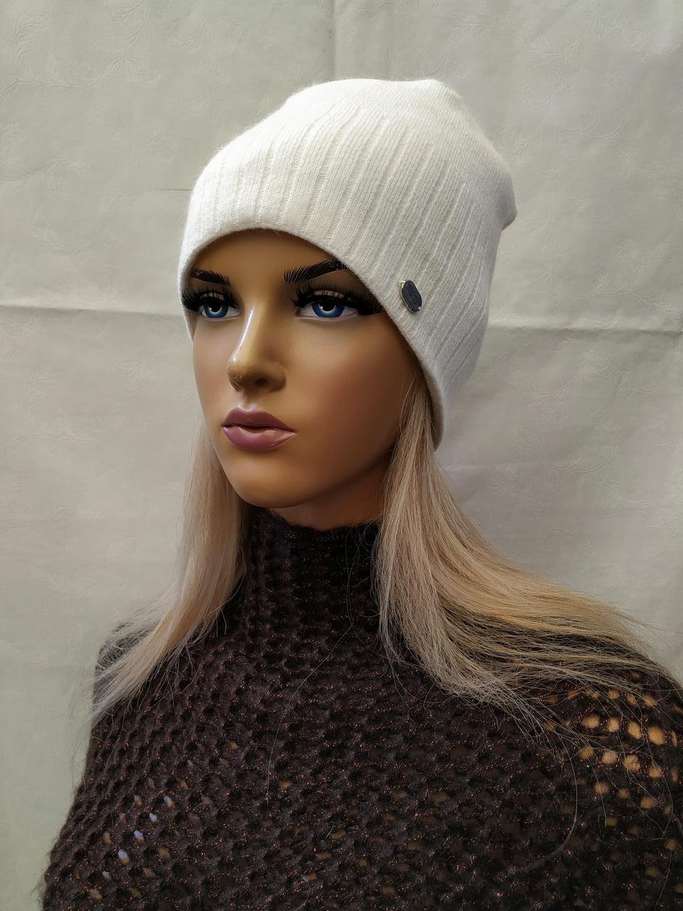 Молодежная шапка из ангоры с ЛЮРЕКСОМ Жанна ODYSSEY белый 43846