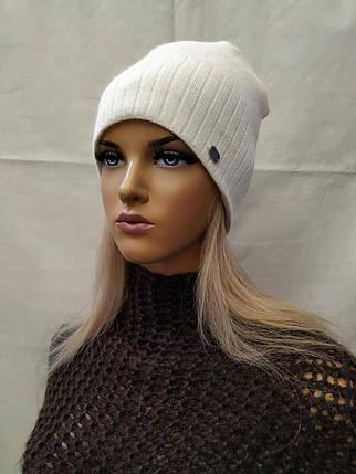 Молодежная шапка из ангоры с ЛЮРЕКСОМ Жанна ODYSSEY белый 43846, фото 2