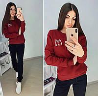 Тёплый женский спортивный костюм Кот брюки штаны и кофта свитшот на флисе бордовый 42 44 46 48