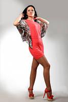 Туника платье кораллового цвета летнее, туника удлиненная облегающая молодежная с рукавом, фото 1