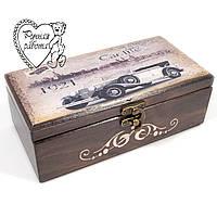 Скринька купюрница з ретро-машиною 20*10*7 см, подарунок чоловікові, водієві, для грошей