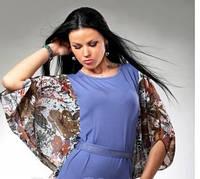 Туника женская трикотажная с шифоновыми рукавами, молодежная, облегающая, повседневная, фото 1