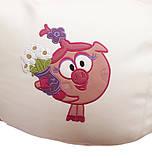 Кресло-груша мешок sportkrslo Смешарики экокожа размер L 95*115см белый с розовым, фото 2