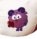 Кресло-груша мешок sportkrslo Смешарики экокожа размер L 95*115см белый с розовым, фото 3