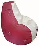 Кресло-груша мешок sportkrslo Смешарики экокожа размер L 95*115см белый с розовым, фото 4
