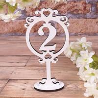 Хит! Свадебный Деревянный Номерок на Стол, Цифра 2, размер 17х9 см
