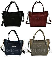 Женская сумка черная из натуральной замши (23*26*11 см)