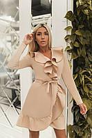 Женское платье-халат на запах с воланом под пояс, фото 1