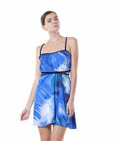 Сарафан летний атласный молодежный, сарафан синий свободного покроя, сарафан красивый яркий, фото 1