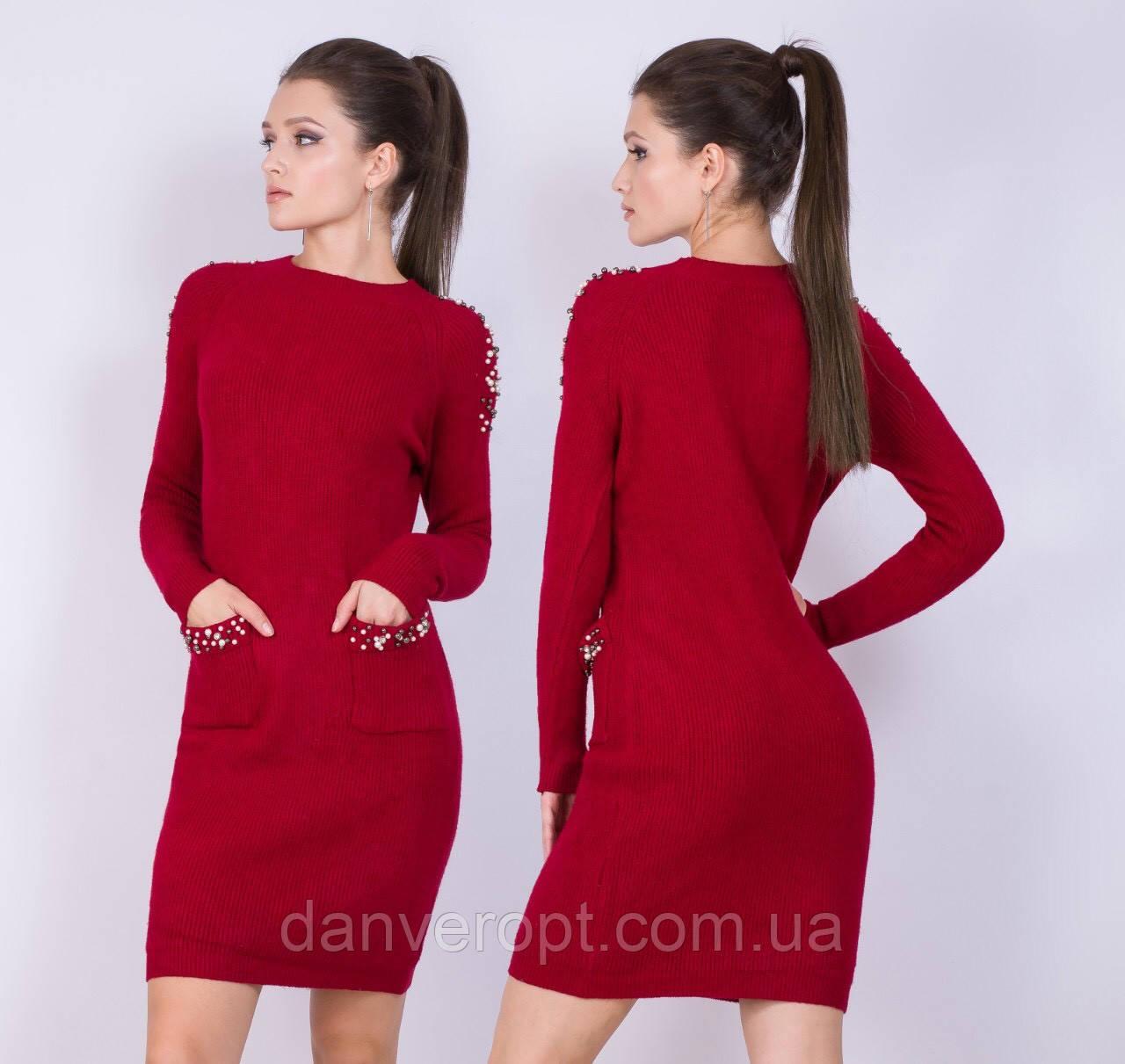 Платье женское модное стильное с жемчугом размер универсальный 46-50 купить оптом со склада 7км Одесса
