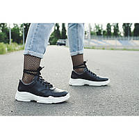 Кожаные черные кроссовки на высокой белой подошве от украинского производителя 37, 38, 40
