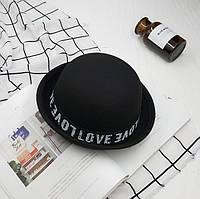 Шляпа женская фетровая котелок LOVE черная, фото 1