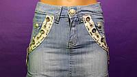 Юбка короткая джинсовая молодежная, юбка красивая нарядная, юбка для девочек, фото 1