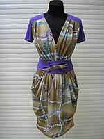 Платье летнее женское с поясом, платье с пышной юбкой масло ткань красивое, платье с декольте, фото 1