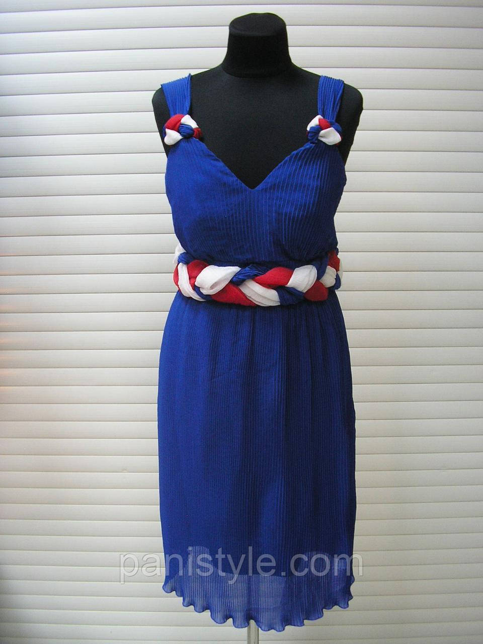 Плаття літнє із завищеною талією молодіжне гофрований шифон, сукня синє яскраве