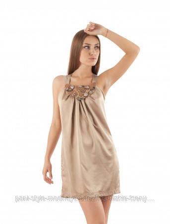 Плаття літнє вільного крою бежевого кольору, плаття атласне ошатне середньої довжини, красиве яскраве плаття