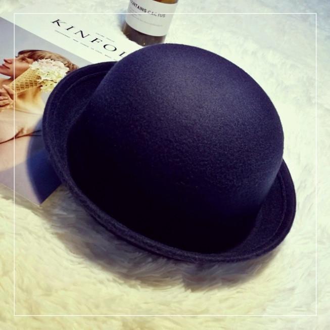 Шляпа женская фетровая котелок темно-синяя