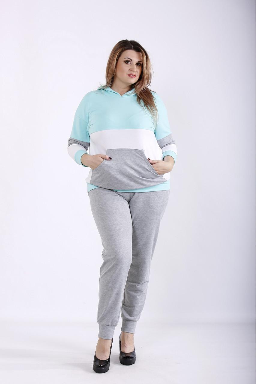 Светлый серый спортивный костюм большого размера 01250-3