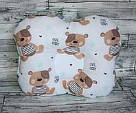 """Ортопедическая подушка для новорожденных """"мишка Тэдди с мятным горохом"""""""