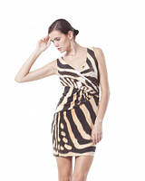 Платье летнее масло ткань зебра, платье бежевое с декольте красивое, платье повседневное, фото 1