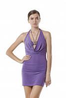 Платье летнее короткое с открытой спинкой сиреневого цвета, платье молодежное